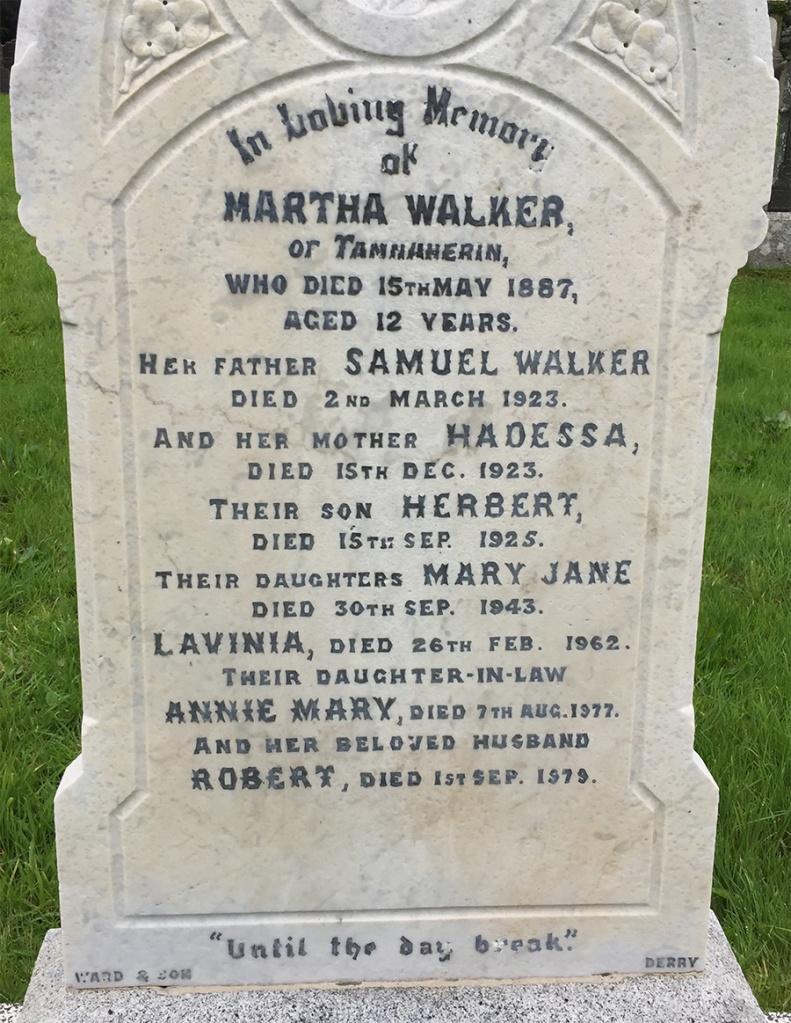 Headstone for Samuel and Hadessa Walker.