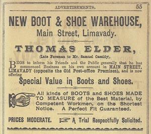 Thomas Elder Shoemaker Advert, 1896